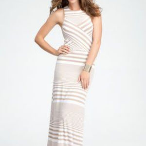 BEBE Maxi Dress White and Tan (nude)
